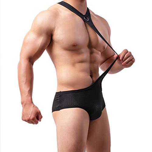 Mens Mesh Breathable Leotard Singlet Underwear See Through One-Piece Jumpsuit Suspender Jockstrap (Medium, Mesh Singlet)