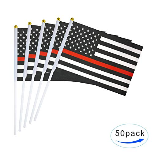 TSMD Thin Red Line American Firefighter Flag 50 Pack Small Mini Hand Held Polyester Flags On Stick,Firefighter Theme Party Event Decorations