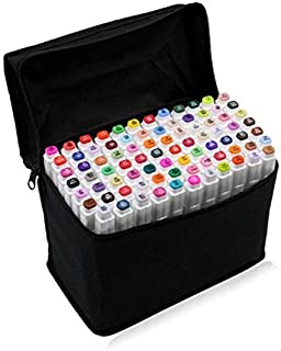PetHot Conjunto de 80 colores Touch alcohol gráfico arte Sketch Twin marcador pluma amplio punto fino, con Cáscara blanca