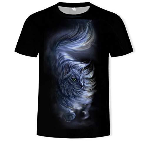 fdgd T-Shirt da Uomo Girocollo con Stampa 3D Nuova Estate Casual T-Shirt a Maniche Corte Girocollo 3D Bobcat, Come Mostrato, XXL