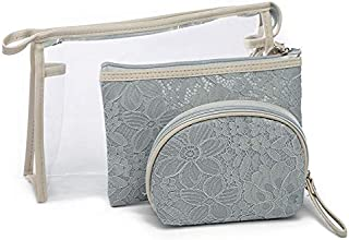 Clear PVC 3 Sizes Travel Makeup Bag Lace Cosmetic Pouch