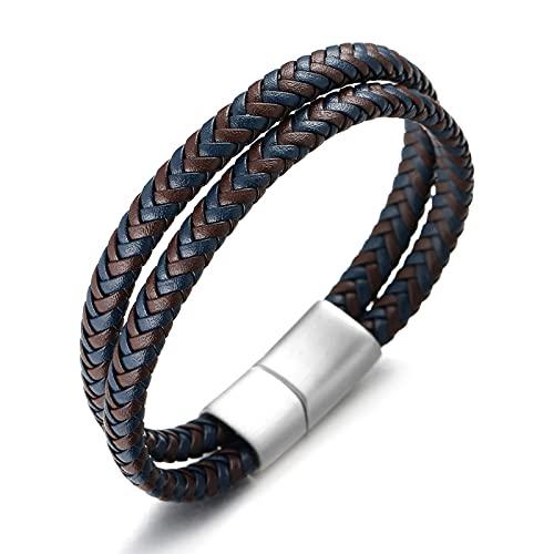 Halukakah  Golf  Hombre Genuino Cuero Pulsera Azul Mezcla Marrón Trenzado Doble Envoltura Plata Cierre Magnético de Titanio 21.5cm con Caja