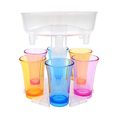 Round Translucent Dispenser Holder - Shot Dispenser With Glasses - Six Ways Shot Glasses Dispenser 1.2oz Acrylic Cups - For Bar Cocktail Lifter Party Favors (White transparent)