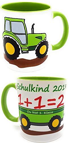 Kilala Tasse Schulkind 2020 Traktor Trecker zur Einschulung Jungen Zuckertüte Schultüte Henkeltasse inkl. Geschenkverpackung