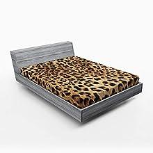 ABAKUHAUS Estampado de Leopardo Sábana Elastizada, La Piel del Animal Salvaje, Suave Tela Decorativa Estampada Elástico en el Borde, 150 x 190 cm, Brown pálido Negro