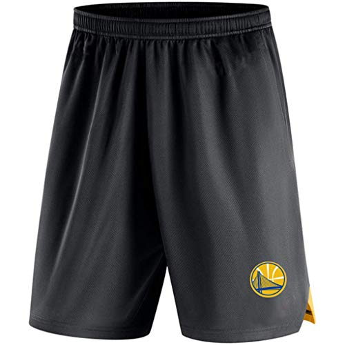 JNTM Mens Sport Shorts NBA Golden State Warriors Atletica Basket Formazione in Maglia Pantaloni Felpa Beach Shorts per La Gioventù Estate con Pocket Black-L