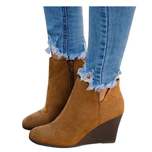 AODONG Ankle Boots for Women Low Heel Short Ankle Booties Square Head Platform Boots Round Toe Non-Slip Cowgirl Boots