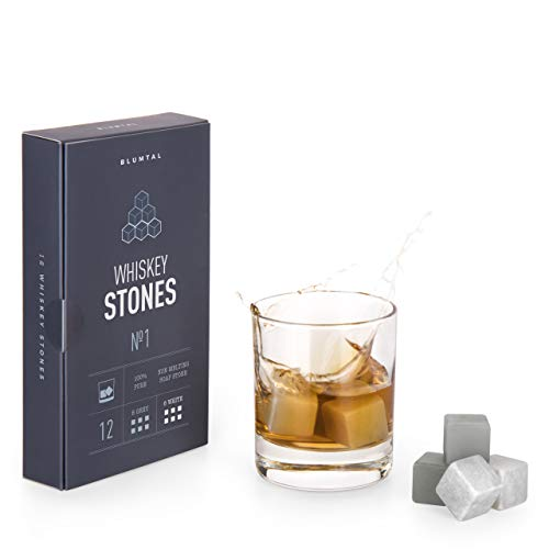 Blumtal Whisky Stones, Set 12 Pietre Whisky, Ghiaccio Whisky, Whiskey Stones per Cocktail, Cubetti di Ghiaccio Riutilizzabili