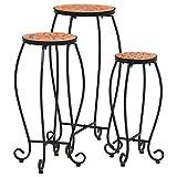 UnfadeMemory 3 STK. Mosaik-Tische Set Garten Tisch Mosaiktisch Eisenrohr und Keramikfliesen Beistelltisch Pflanzentisch Blumenständer (Terrakotta)