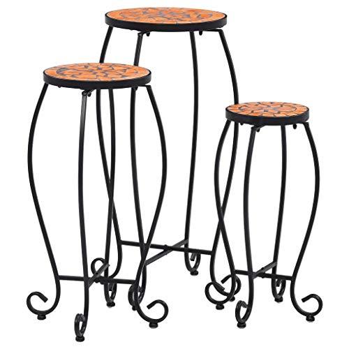 Festnight Mozaïektafels Mozaïek bijzettafel, bloemplantentafel, weerbestendig ontwerp, voor tuin, balkon, terras 3 st keramiek terracottakleurig