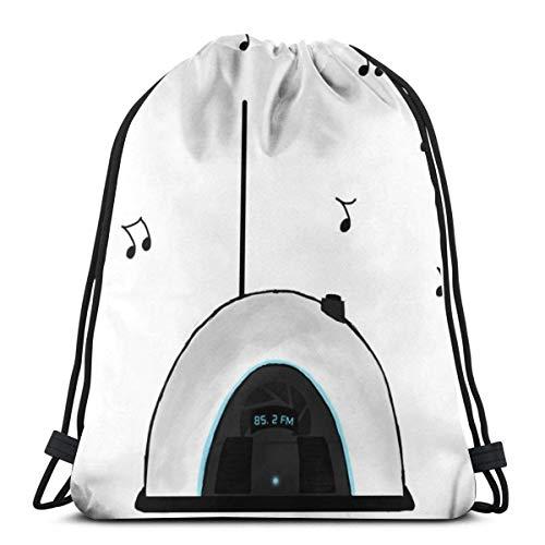 Yuanmeiju Portal Radio Shoulder Kordelzug Taschen Backpack String Bags School Rucksack Gym Sport Bag Lightweight