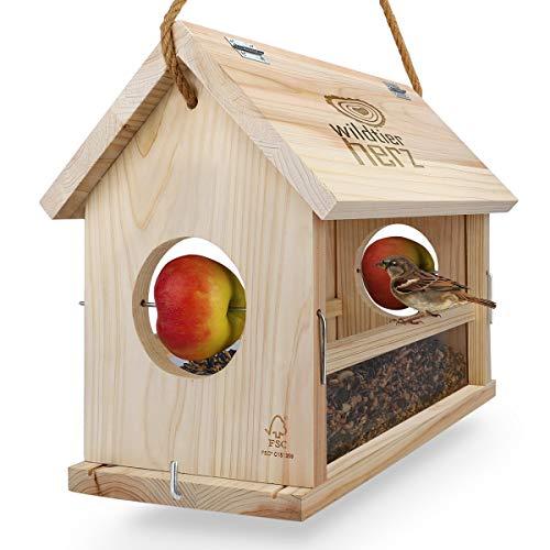 wildtier herz | Vogelfutterhaus groß aus Natur-Holz I XXL Vogelhaus zum aufhängen wetterfest I Futterhaus für Vögel, Vogelhäuschen, Vogel Haus