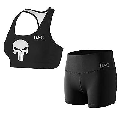 CHOO Women's Active Top Bottom Sets Fight Night Crossfit Bra Racerback Vest Shorts Suit Set,Skull,S