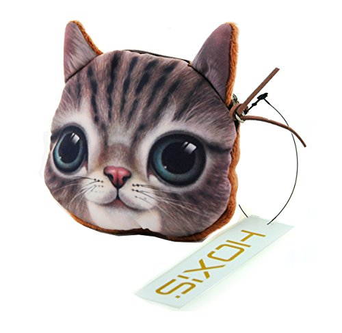 Hoxis Lovely Cat Coin Zipper Purse / Cartoon Mini Cotton Wallet Novelty Design