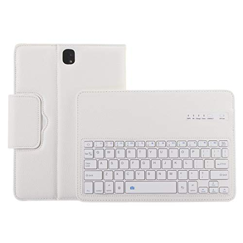 Tablet Keyboard for Galaxy Tab S3 9.7 / T820 2 in 1 Detachable Bluetooth Keyboard Litchi Texture Leather Case with Holder (Color : White)