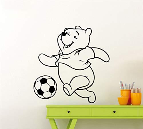 Winnie l'Ourson Sticker Winnie Ours Accessoires de chambre d'enfants Motif Football Ours Jouer au Football Décor de Bande Dessinée