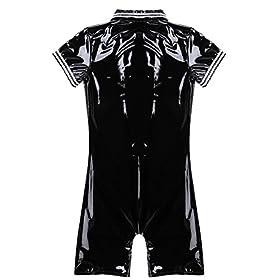 LiiYii Men's One Piece Front Zipper Boxer Shorts Leotard Wet Look PVC Leather Clubwear Bodysuit