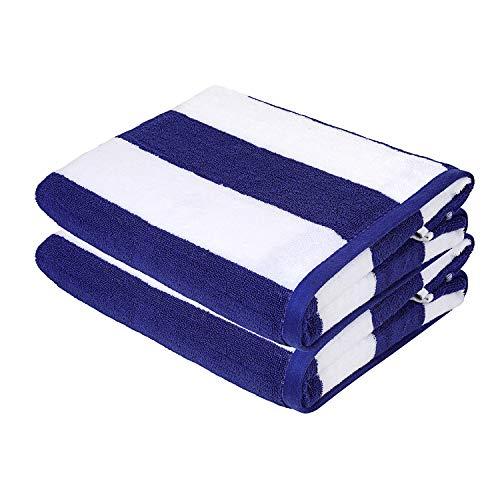 Asciugamani da spiaggia Sweet Needle - Asciugamani da spiaggia Blu reale di qualità Premium - Confezione da 2 (76x152 cm) - 100% cotone Ringspun, pesa
