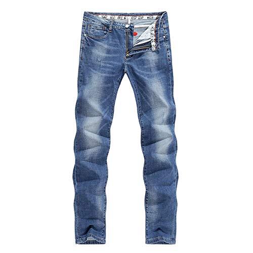 Jeans Pantalon Herren Jeans Hellblau Hohe Elastizität Soft Fashion Taschen Gerade Schlank Business Casual Männliche Jeanshose 38 Blau