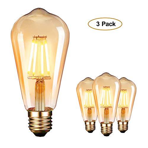 Edison Vintage Glühbirne, Edison LED Lampe E27 4W Warmweiß Retro Dekorative Glühbirne Vintage Antike Glühlampe Ideal für Nostalgie und Retro Beleuchtung 3 Stück [Energieklasse A+]