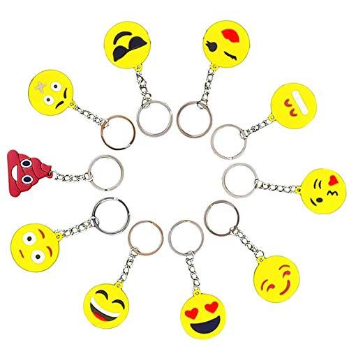 Funmo Mini Emoji Schlüsselanhänger, Smileys Spielzeug Anhänger, Anhänger Set, Gesicht Emojicon Deko Kette, Party Geburtstag Anhänger Dekorationen Zubehör (34 Stück)