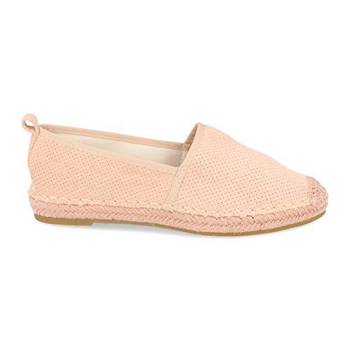 shoes&blues.es 46518-Espadrille Plate pour Femmes avec Semelle en Jute, Mille Points perfores et Bout en Crochet. Printemps ete 2020. Taille 37 Rosa