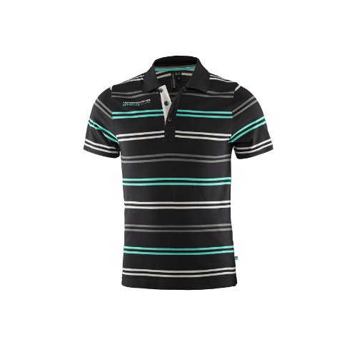 Mercedes AMG Petronas Herren Polo Mens Striped, Schwarz, S