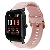 Correa deportiva de repuesto compatible con bandas Amazfit Bip U Pro, correa de reloj de silicona compatible con Bip U Pro Watch Band Mujer Hombre Rosa