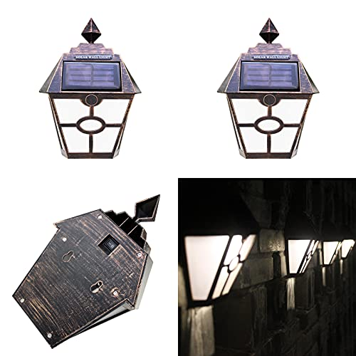 Cockroach 2 unidades de lámparas solares para exteriores con forma de hexágono para la lluvia, para jardín o patio