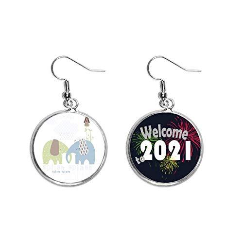Splash Elefante Azul Verde Lluvia Pendientes Pendientes Joyería 2021 Bendición