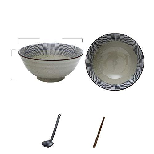 Juego creativo japonés, cuenco de cerámica con sombrero de bambú comercial, ramen grande para el hogar, arroz, fideos, cuenco de sopa, juego de 8 pulgadas