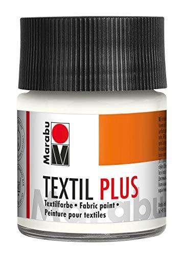 Marabu 17150005070 - Textil Plus weiß 50 ml, volldeckende Stoffmalfarbe für dunkle Stoffe, geeignet für Stoffmalerei und Stoffdruck, nach Fixierung waschbeständig bis 40 °C
