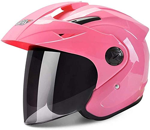 RXX666 Retro Jet-Helm 3/4 Elektrisch Motorradhelm mit Doppelvisier für Damen Herren Roller-Helm Mofa-Helm Scooter-Helm Bobber Chopper Crash Cruiser Biker-C_M=(54~60CM)