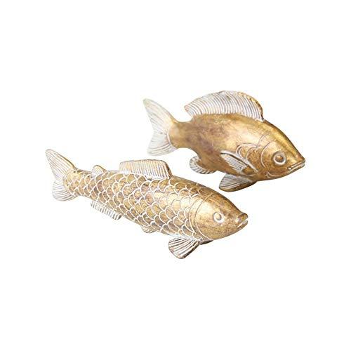 CasaJame Deko Fische, Fisch Figuren in Gold für Badezimmer, Tischdeko, Gartendeko aus Kunstharz, 2er Set, 15x4x8cm