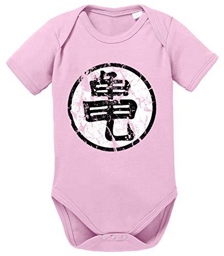 Tee Kiki Sign Body Dragon de algodón orgánico Ball Son Proverbs Baby Romper para niños y niñas de 0 a 12, Größe2:68/4-6 Meses, Baby:Rosa