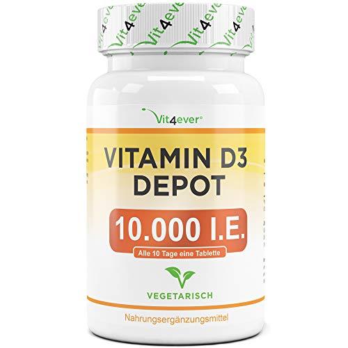 Vitamin D3 10.000 I.E. Depot - 365 Tabletten - Hochdosiert - Laborgeprüft - Vegetarisch - Hohe Reinheit - 10 Tagesdosis 1000 I.E. pro Tag - Premium Qualität