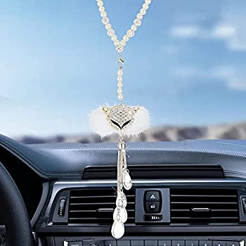 Car Rear View Mirror Crystal Ornament,Car Hanging Decorations Diamond Bling Ball Cute Car Ornament Accessories,Good Luck Ball with Crystal Pendant Bling Decor White Fox