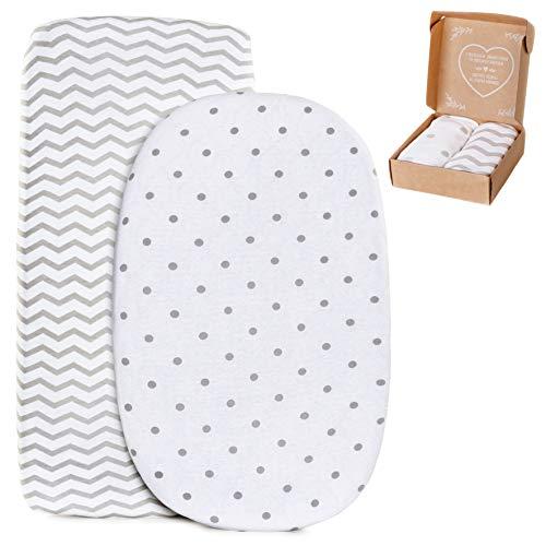 2 sábanas bajeras ajustables mimaDu para minicuna, cuna de colecho, cochecito (80x40/50 a 90x50 cm) – Pack de sábanas suaves 100% algodón OEKO-Tex para colchón de bebé (Zig-zag, puntos)