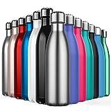 BICASLOVE de Botella de Agua de Acero Inoxidable,Diseño de Pared Doble,Boca Estándar,Para Correr,Gimnasio,Yoga,Ciclismo,500ML,Acero Inoxidable