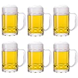 TUSAPAM 4 Pack Heavy Beer Mugs, Large Beer Glasses with Handle, 14 Ounce Glass Steins, Classic Beer Mug glasses Set