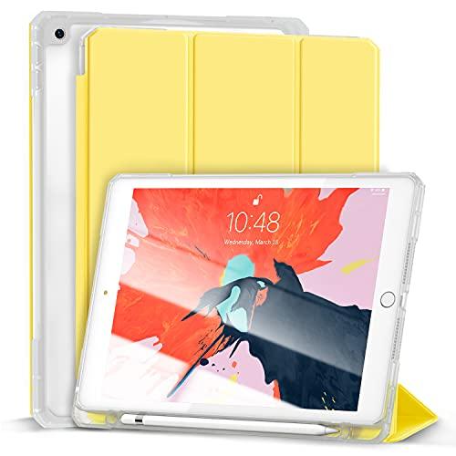 Gahwa Hülle für iPad 8.Generation 2020/7.Generation 2019, Schlankes weiches TPU Durchscheinend Mattiert Zurück Schutz hülle für iPad 10,2 Zoll mit Stifthalter, Auto Wake/Sleep - Gelb