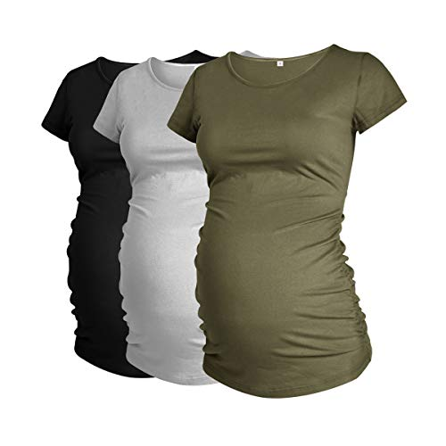 Glamix - playera de maternidad para mujer, manga corta, con fruncidas, color negro y gris jaspeado/verde militar, 3 unidades