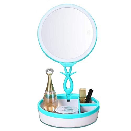 ShiSyan Led Espejos Maquillaje Espejo de Maquillaje Espejo con Aumento, Metal enmarcada Doble Cara 360 ° Giro de Belleza Espejo cosmético con Almacenamiento de sobremesa Espejos Espejos