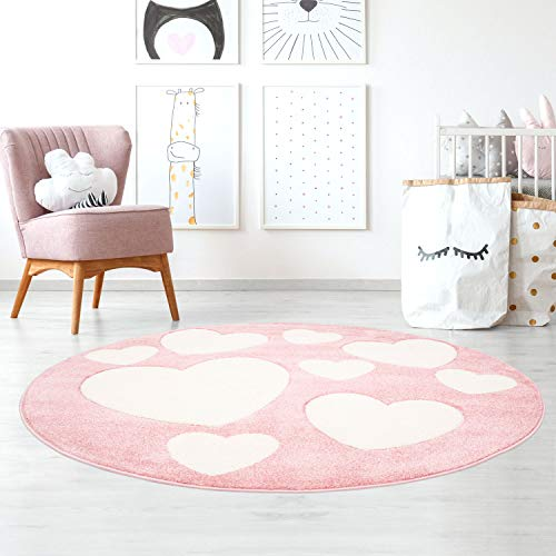 Taracarpet Kinderzimmerteppich für Mädchen süße Herzen Rosa Creme 120x120 cm rund