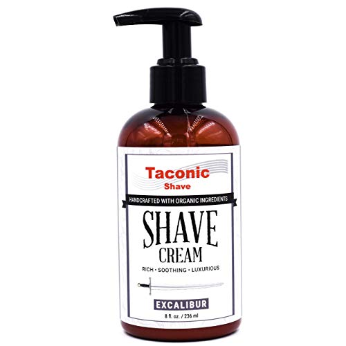 Taconic Shave Excalibur Shaving Cream, Pump Bottle, Ultra-Rich High Lather Formula, 8 oz - Handcrafted in The USA