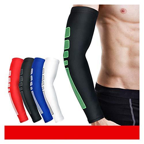 ZBYD 1 unids silicona antideslizante protección UV Ciclismo calentadores de brazos de baloncesto coderas deportivas para hombres y mujeres 330 (color: azul, tamaño: mediano)