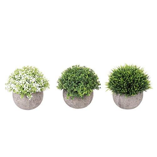 VORCOOL 3 pcs Mini Plastique Faux Faux Vert Herbe Simulation Plantes Artificielles avec Pots pour Home Decor