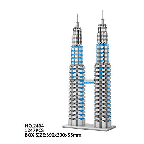 Zenghh Arquitectónicas Torres Petronas Modelo, Landmark famoso grande 395mm ornamento Crafts 3D, bloques de la ciudad, Diamond miniatura Rompecabezas Juguetes, Adolescentes Adultos coleccionables