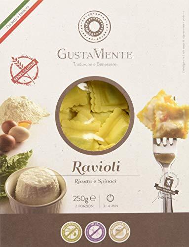 GustaMente Ravioli ricotta e spinaci - senza glutine - Pacco da 6 x 250 g