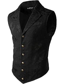 VATPAVE Mens Victorian Suit Vest Steampunk Gothic Waistcoat X-Large SU14 Black